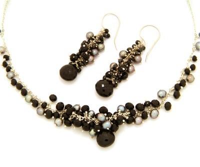 Black Spinel & Pearl Cluster Earrings