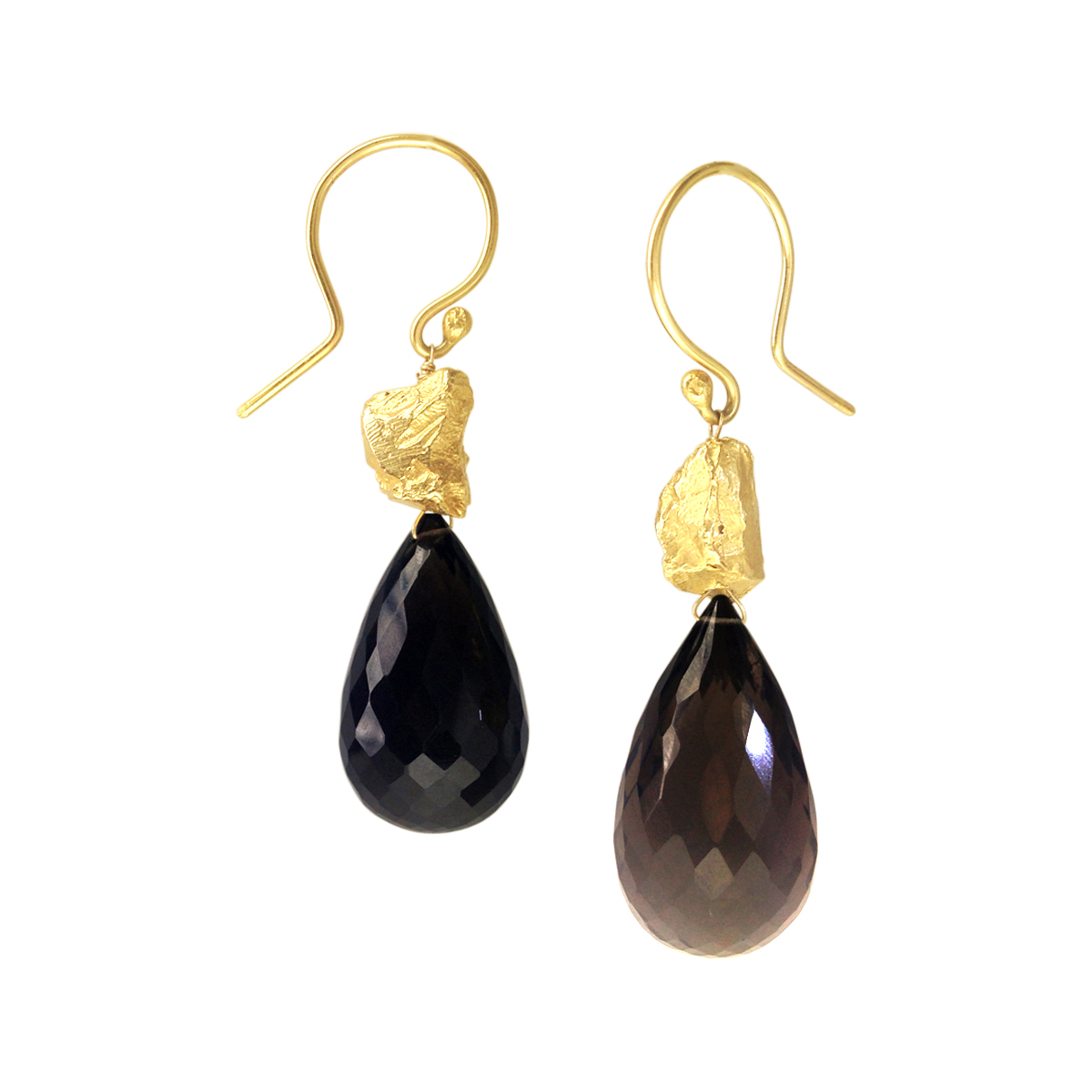 Boulder smoky quartz earrings