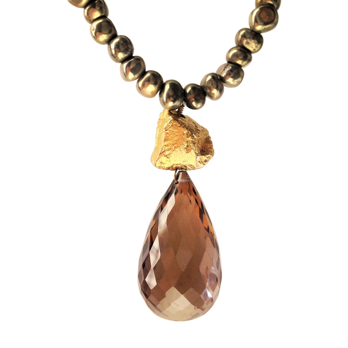 Boulder smoky quartz necklace