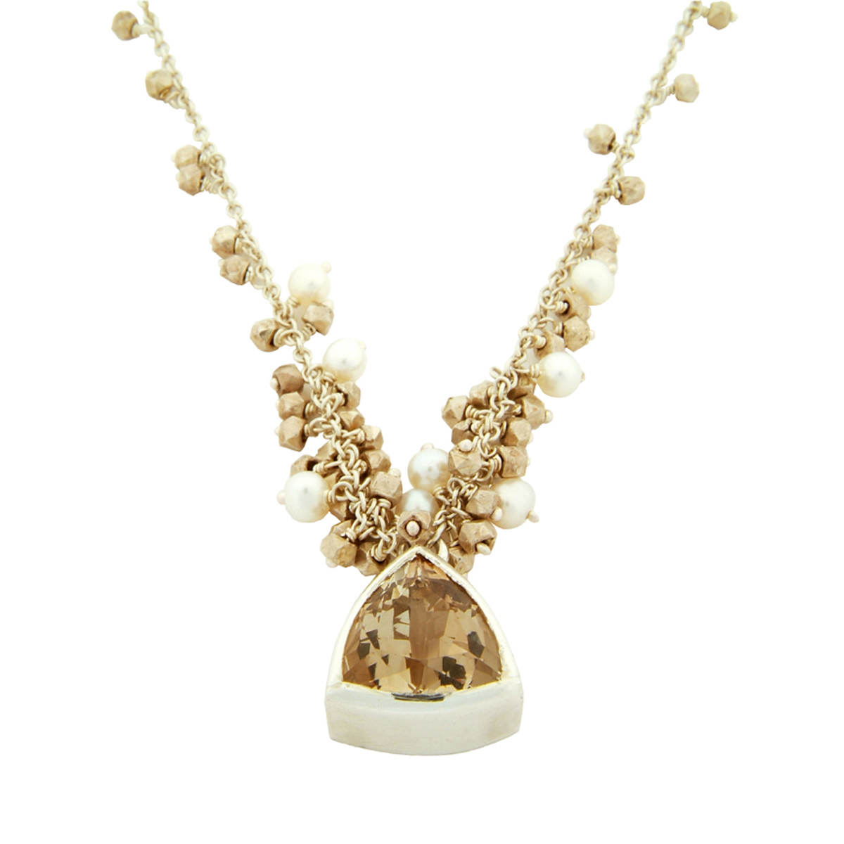 Cluster necklace trillion champagne topaz