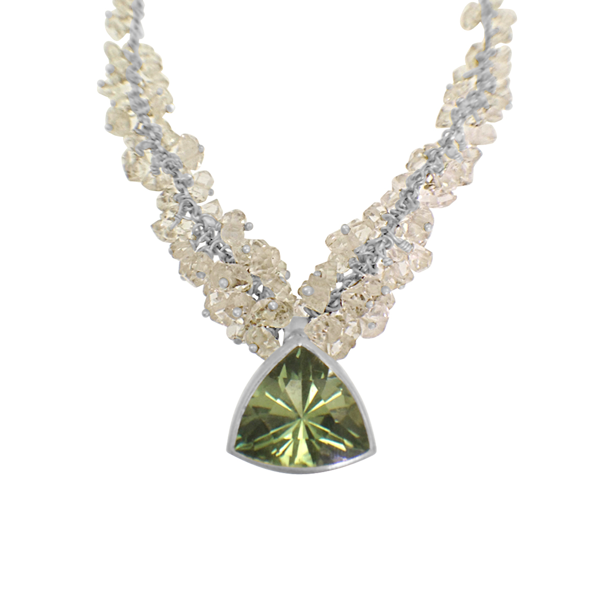 Cluster necklace trillion green amethyst
