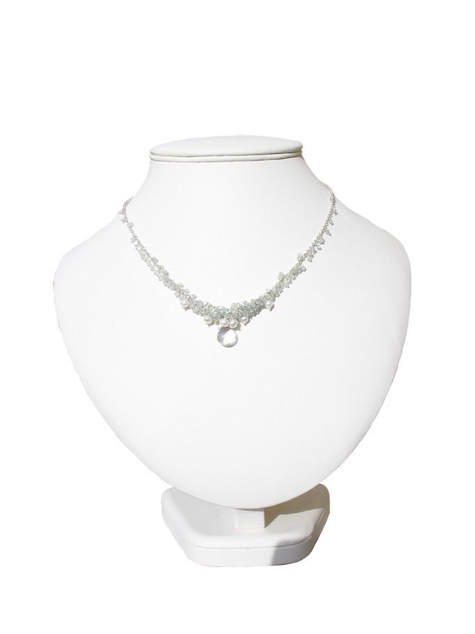 Crystal Quartz & Aquamarine Cluster Necklace