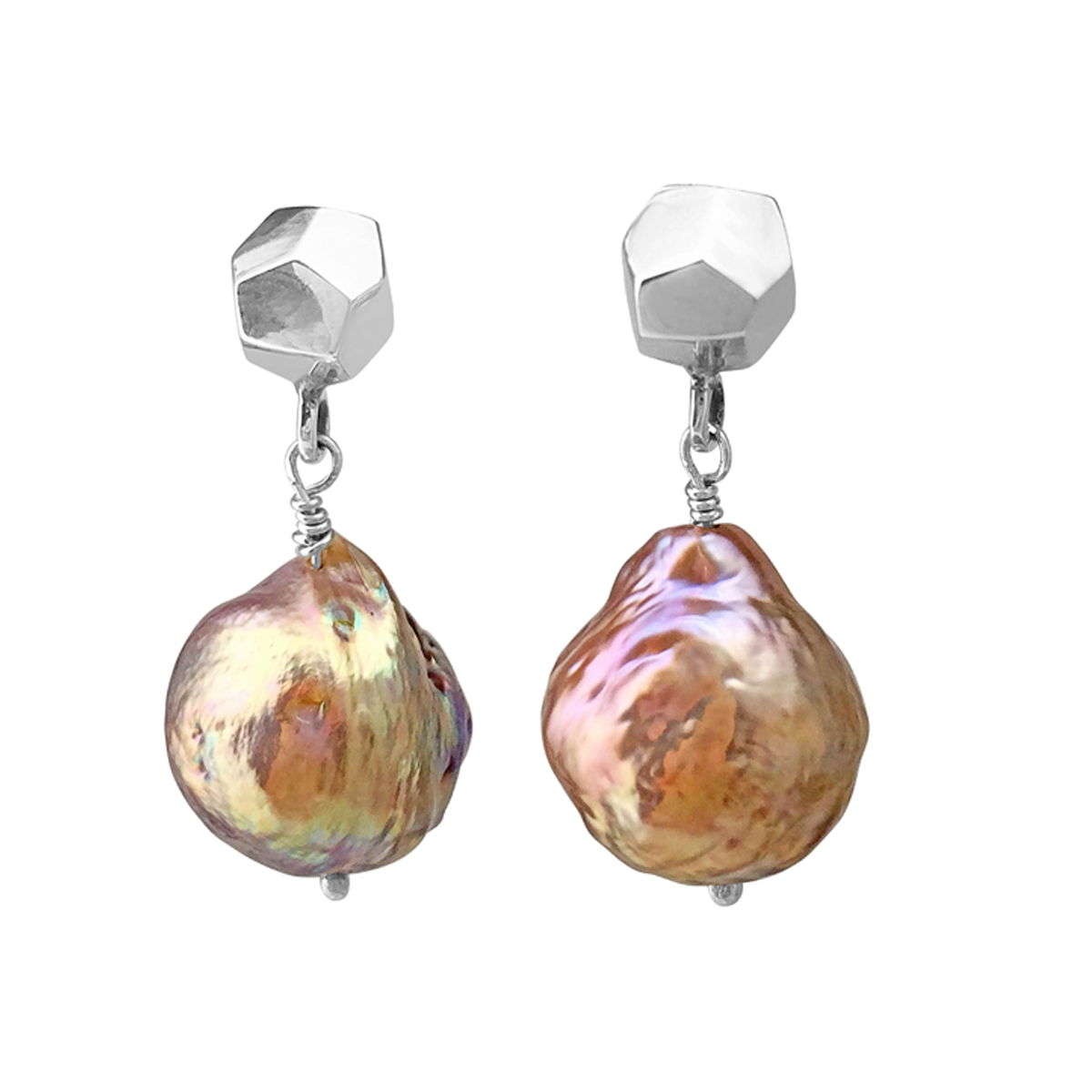 Decca earrings silver and dangly river pearl