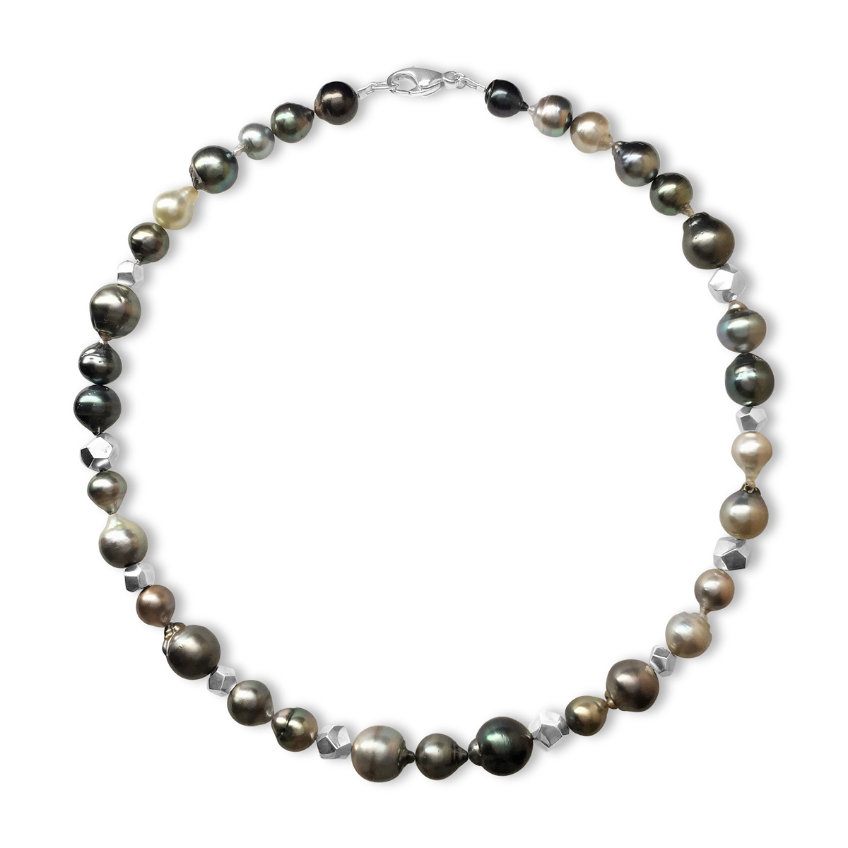 Decca silver Tahitian pearl necklace