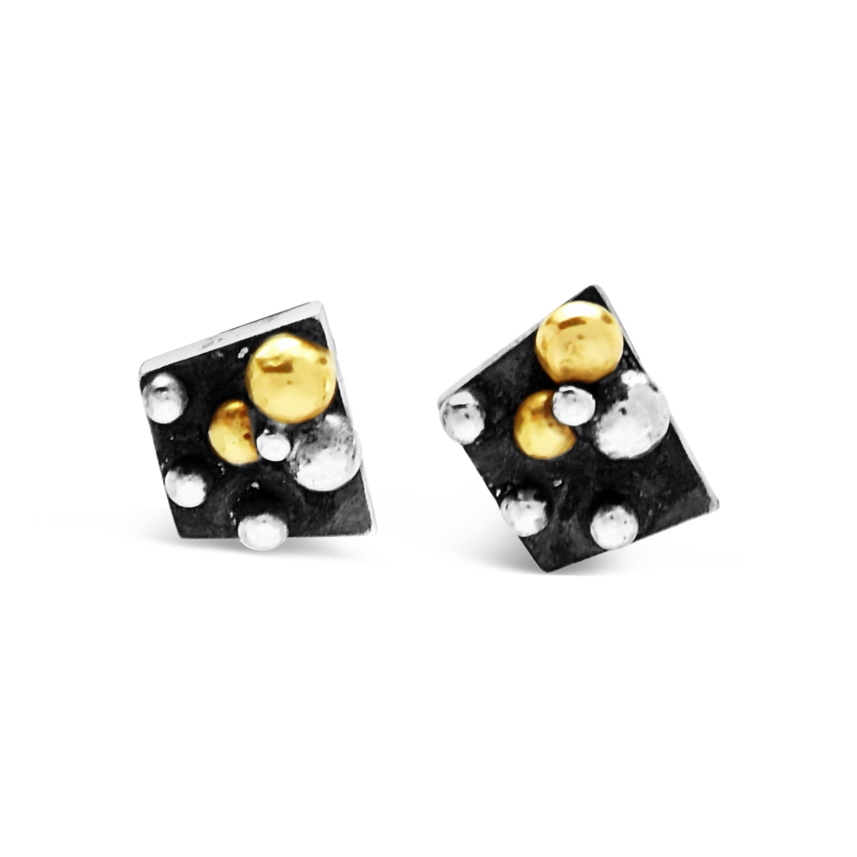 Molecule silver and gold angled earrings
