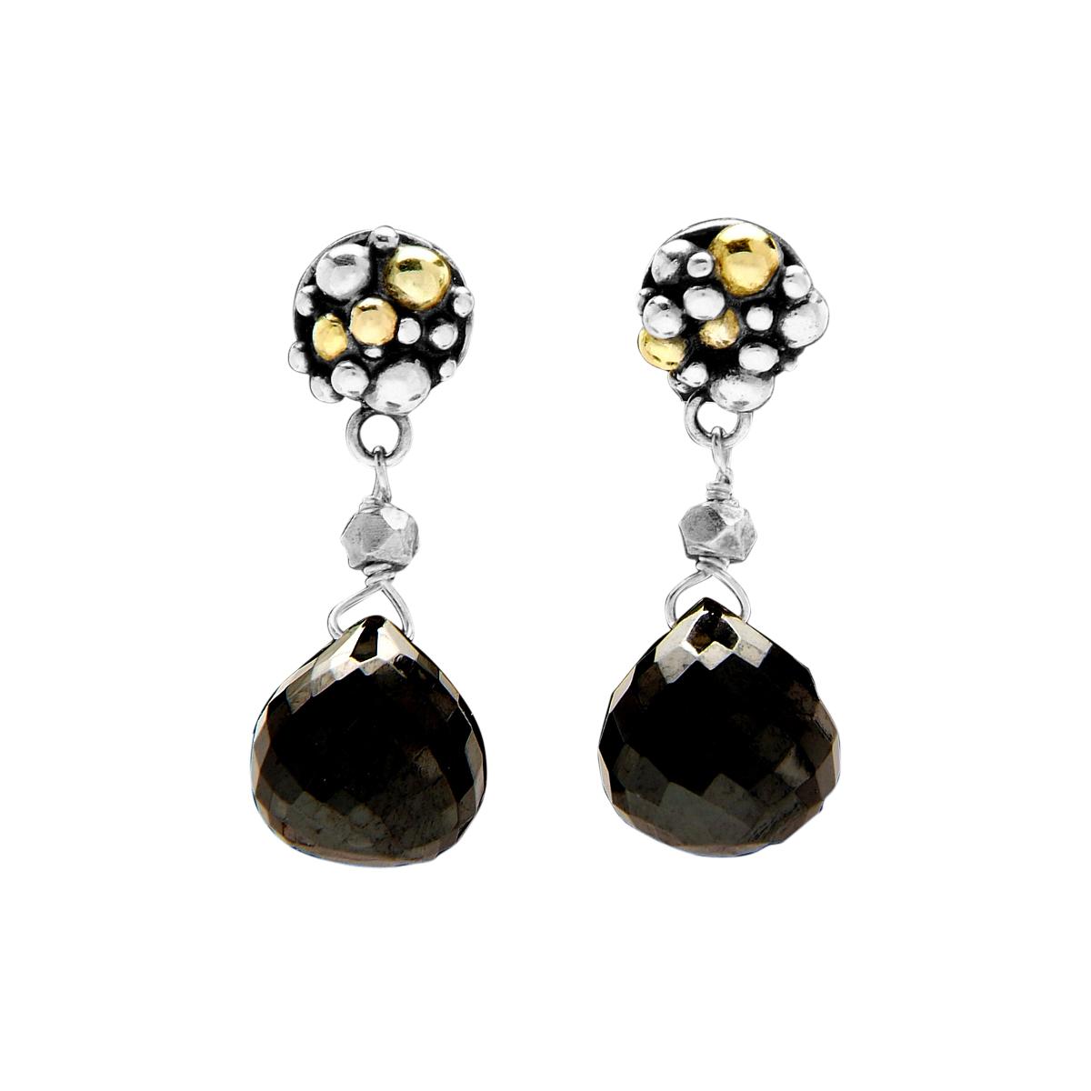 Molecule black spinel earrings