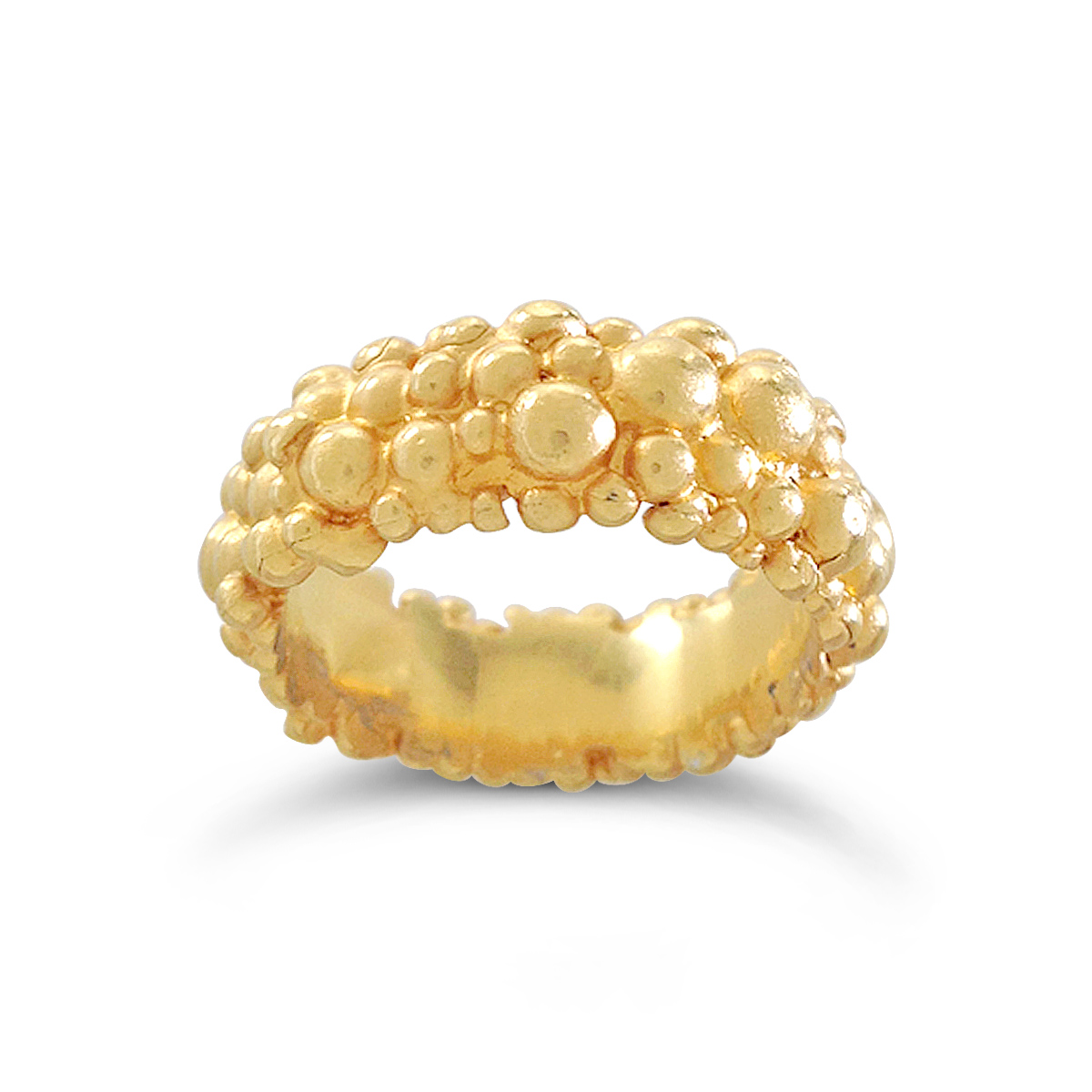 Molecule eternity ring gold plated silver 8mm wide