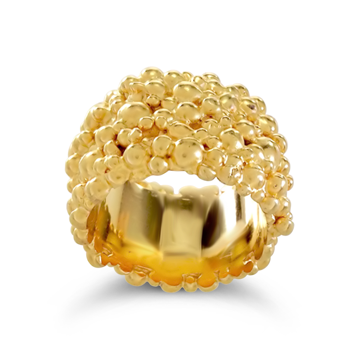 Molecule eternity ring gold plated silver 15mm wide