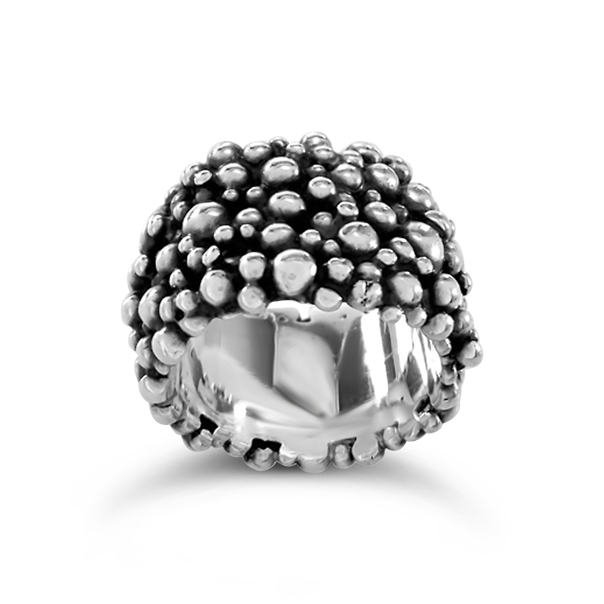 Molecule eternity ring oxidised silver 15mm wide