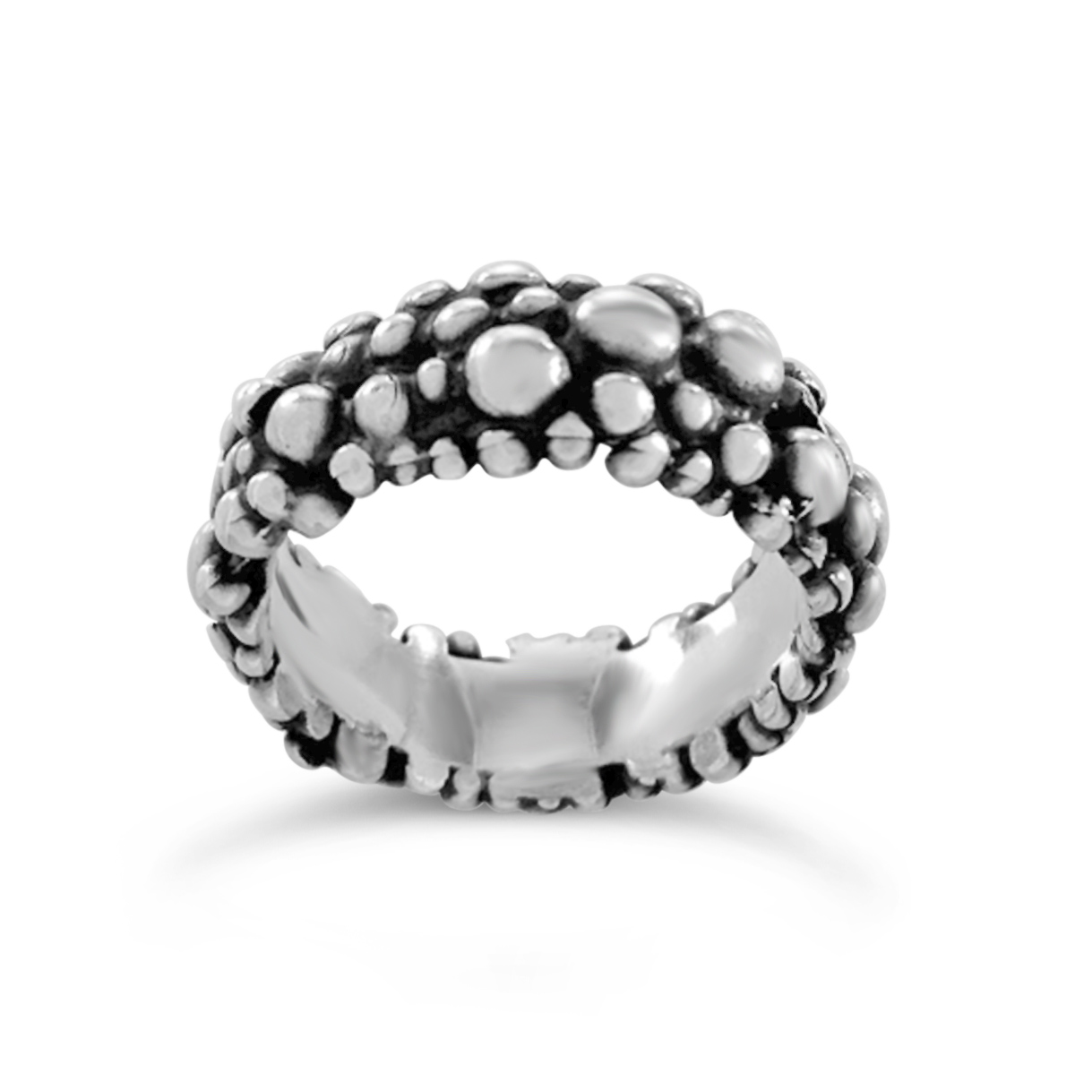 Molecule eternity ring silver 8mm wide