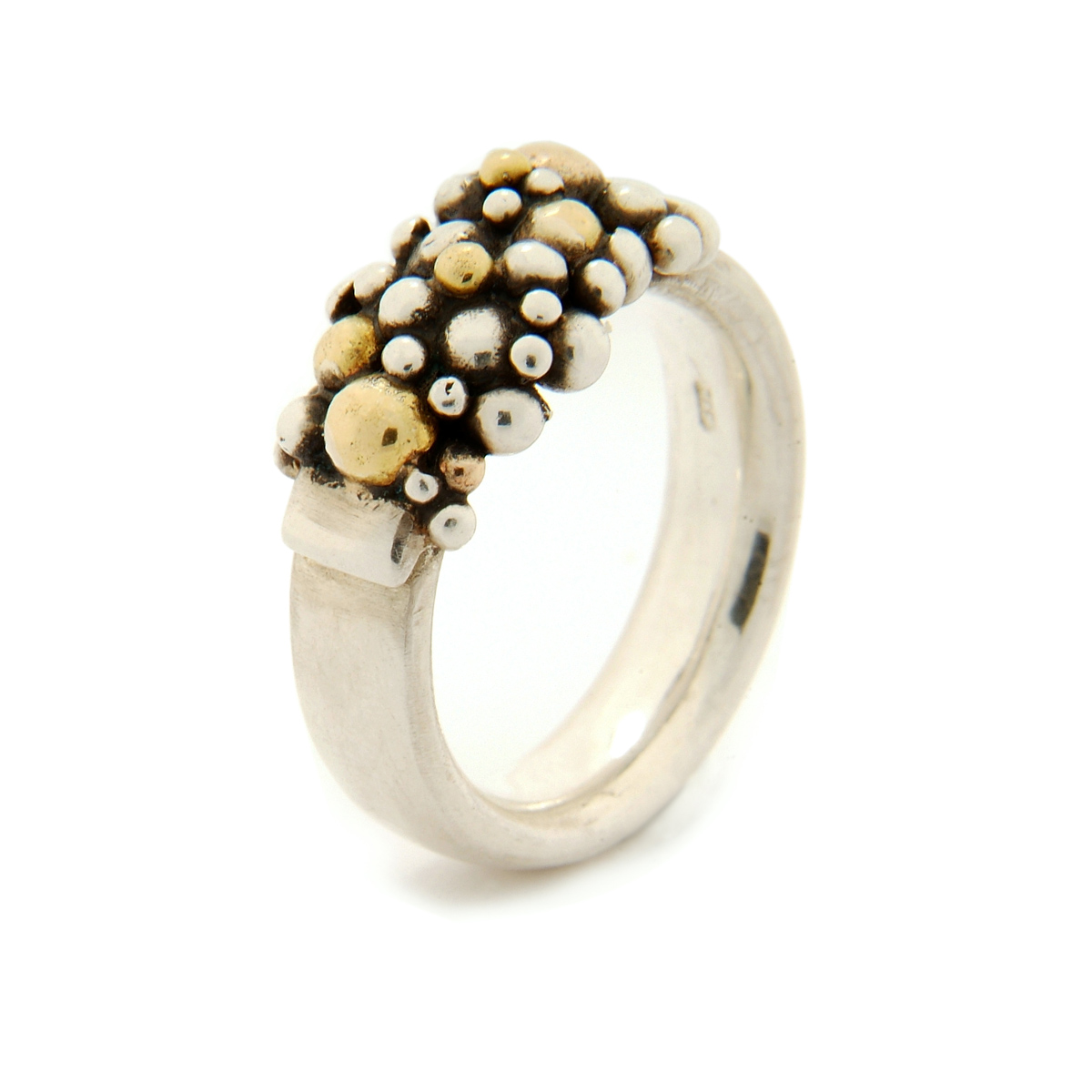 Molecule semi ring silver and 18ct gold