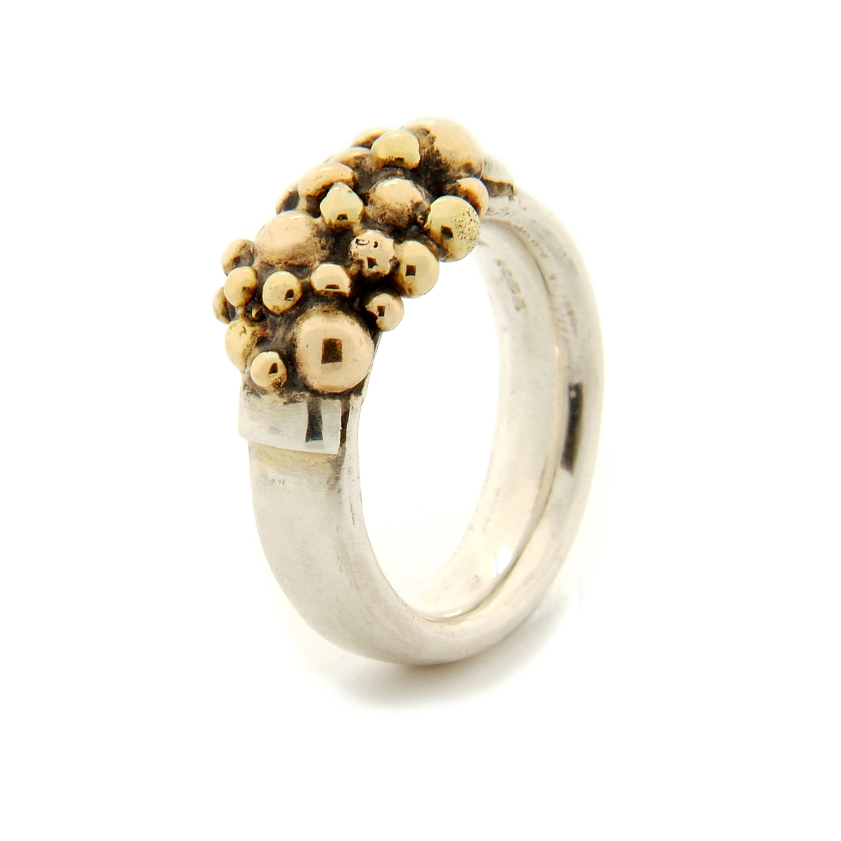 Molecule semi ring silver and 9ct gold