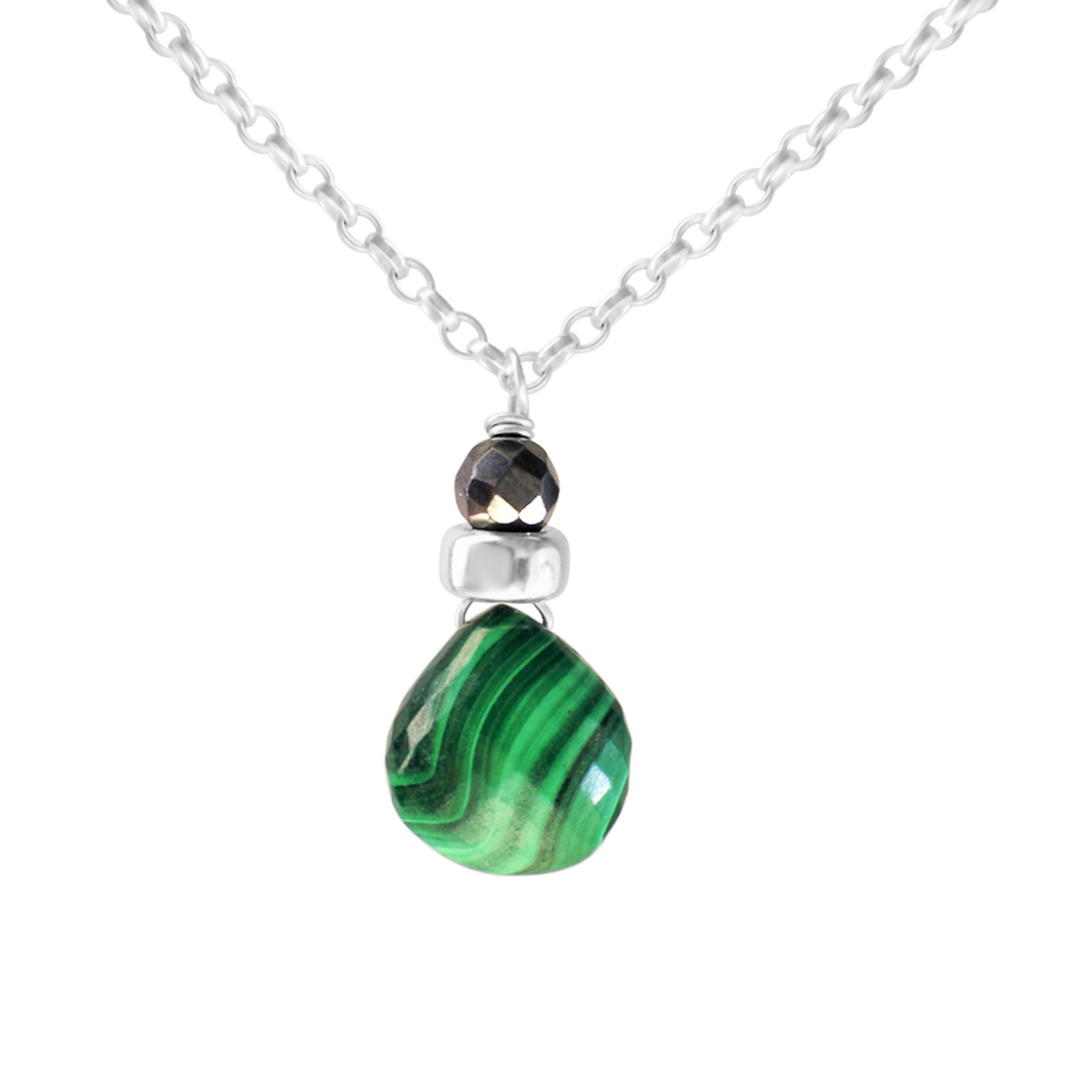 Perfume Bottle malachite and haematite necklace