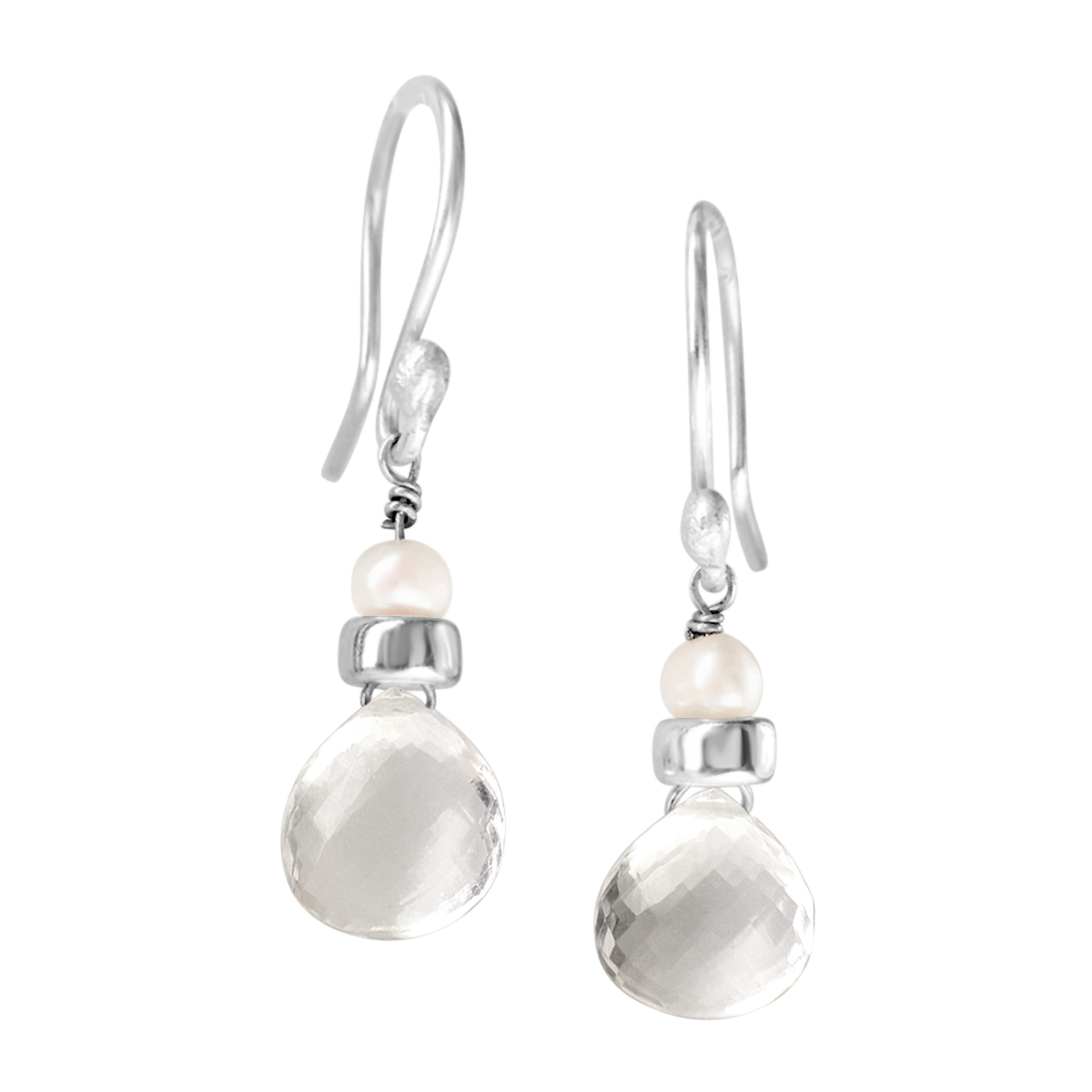 Perfume Bottle crystal quartz white pearl earrings
