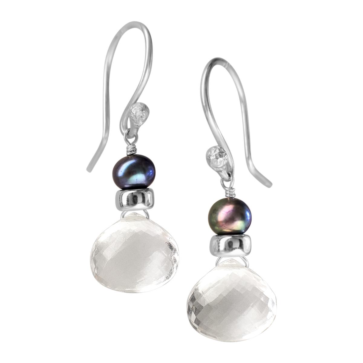 Perfume Bottle crystal quartz blue pearl earrings