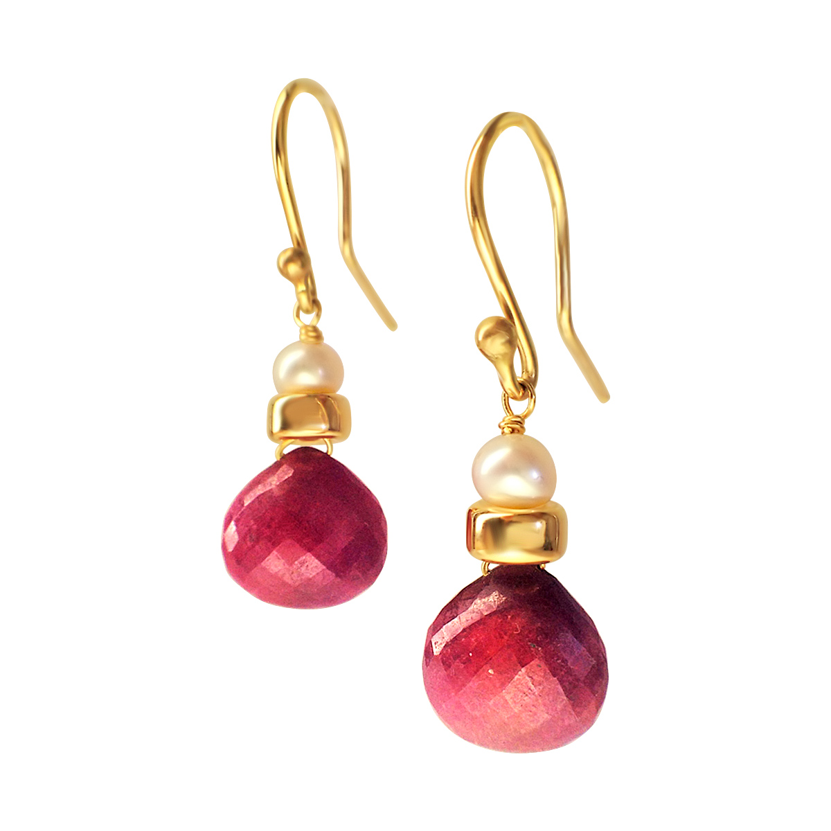 Perfume Bottle pink sapphire gold earrings