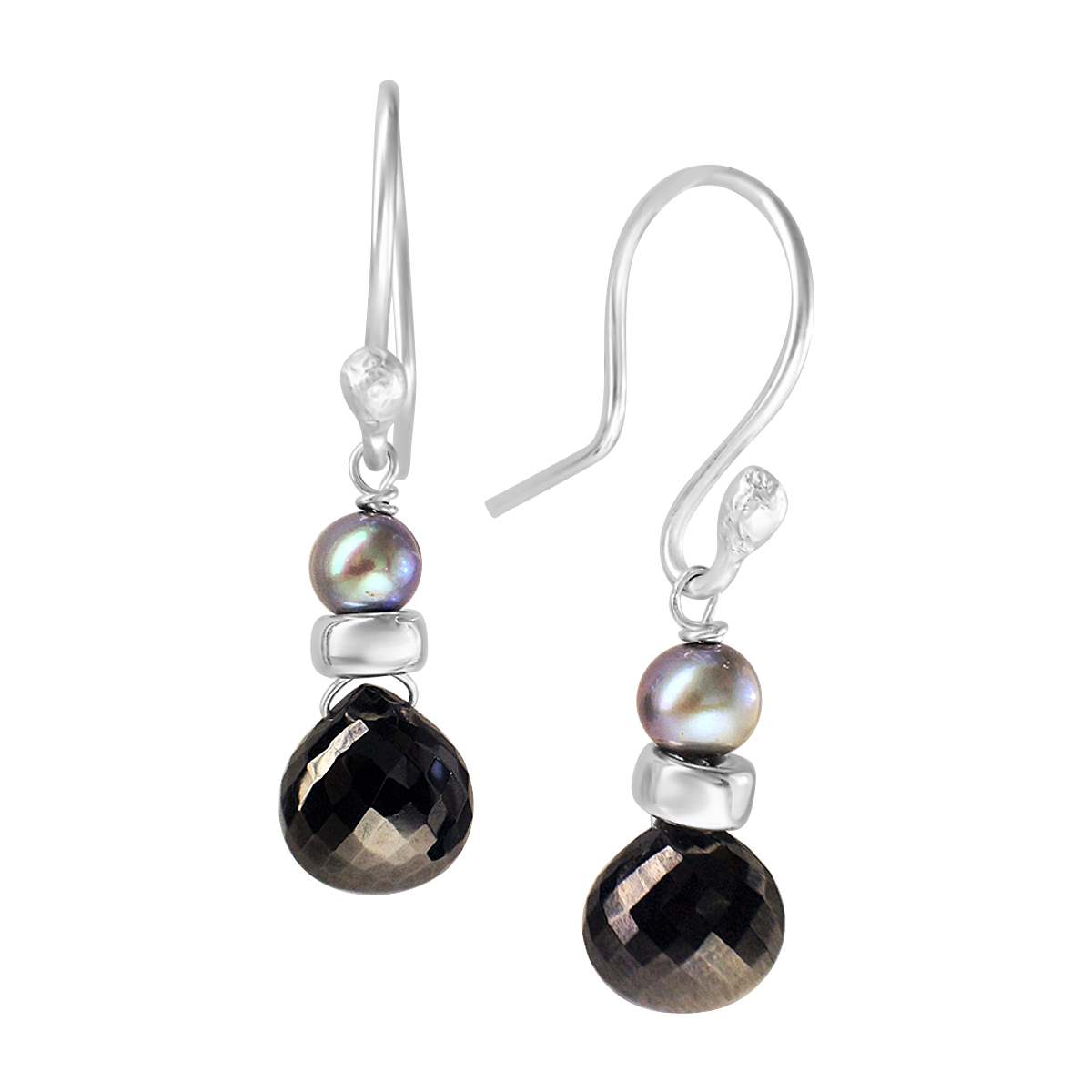 Perfume Bottle black spinel blue pearl earrings