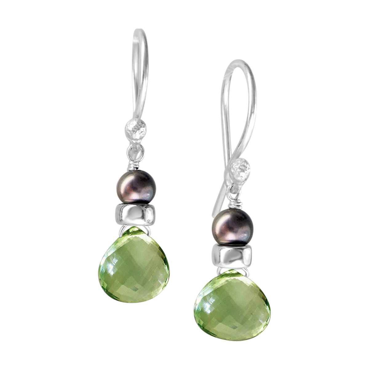 Perfume Bottle green amethyst pearl earrings