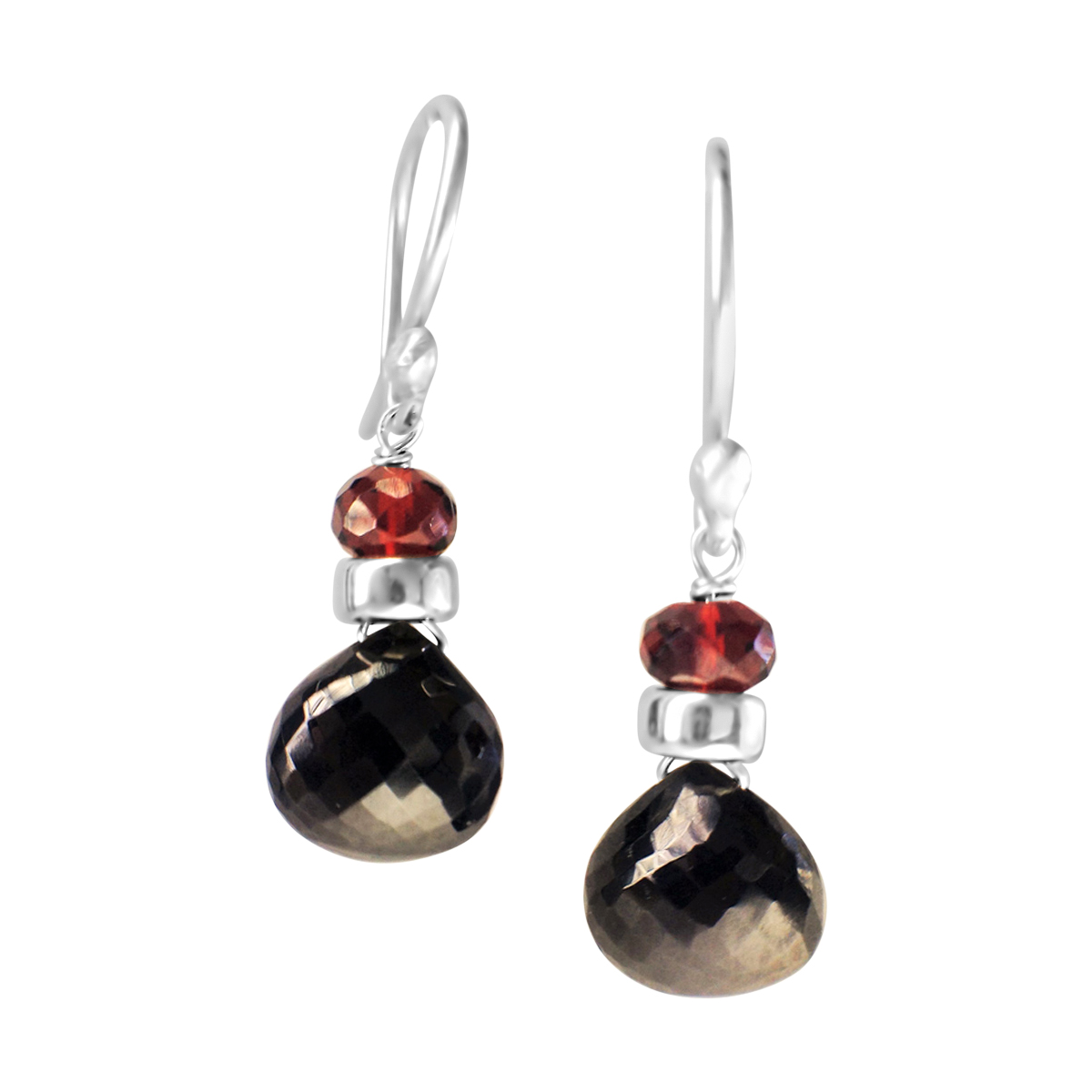 Perfume Bottle black spinel and garnet earrings