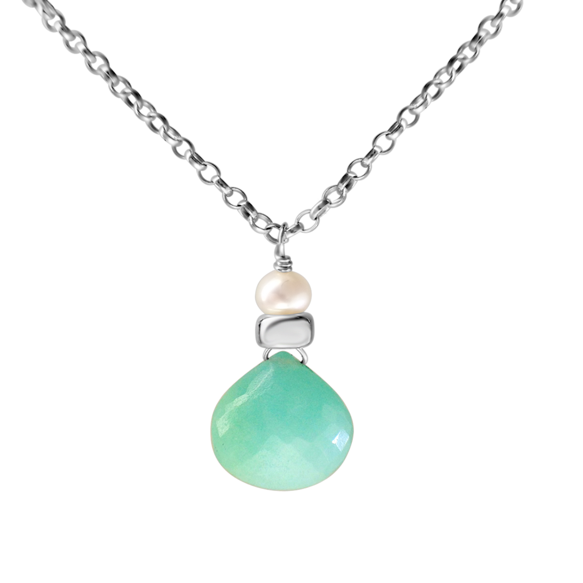 Perfume Bottle amazonite and white pearl necklace