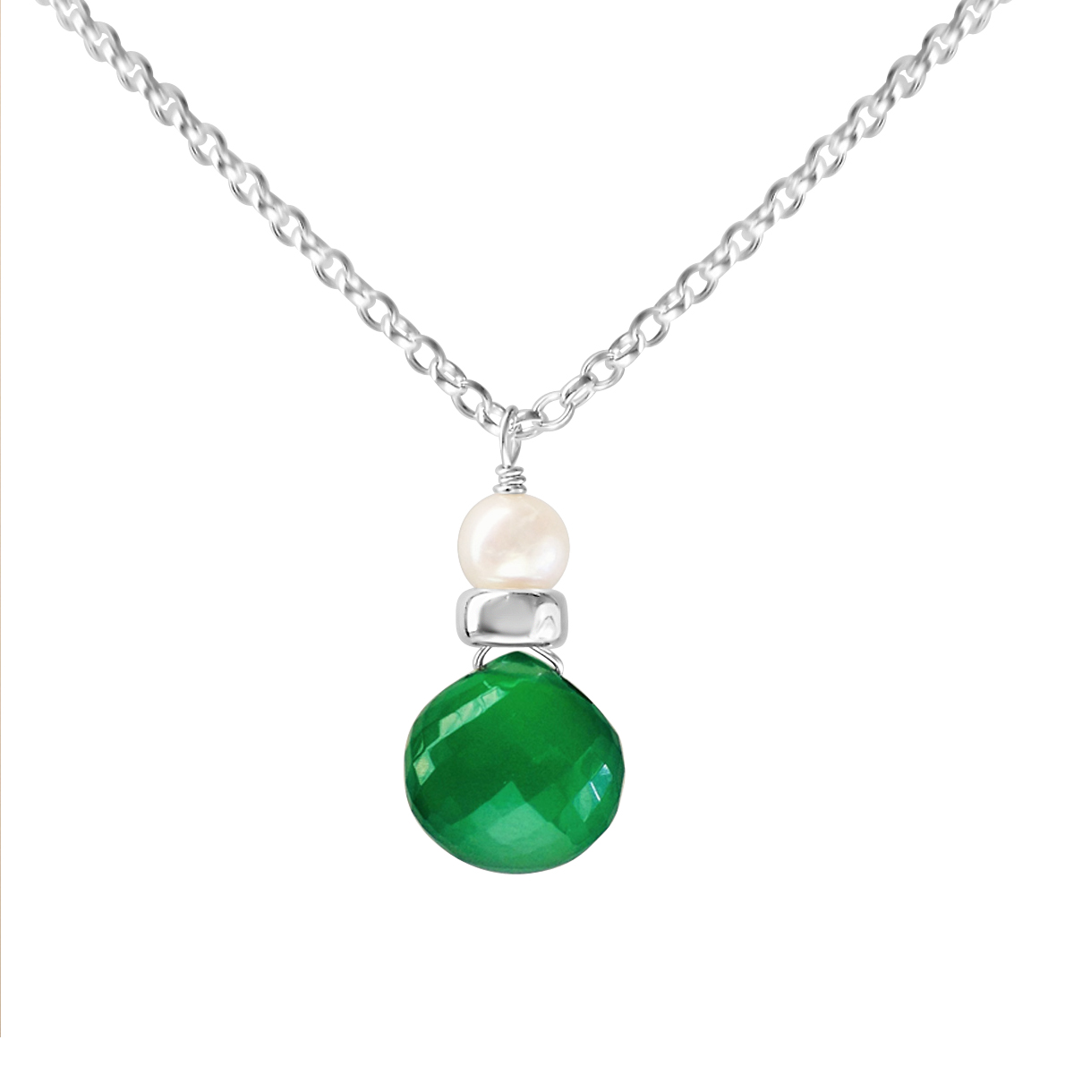 Perfume Bottle green onyx and white pearl necklace