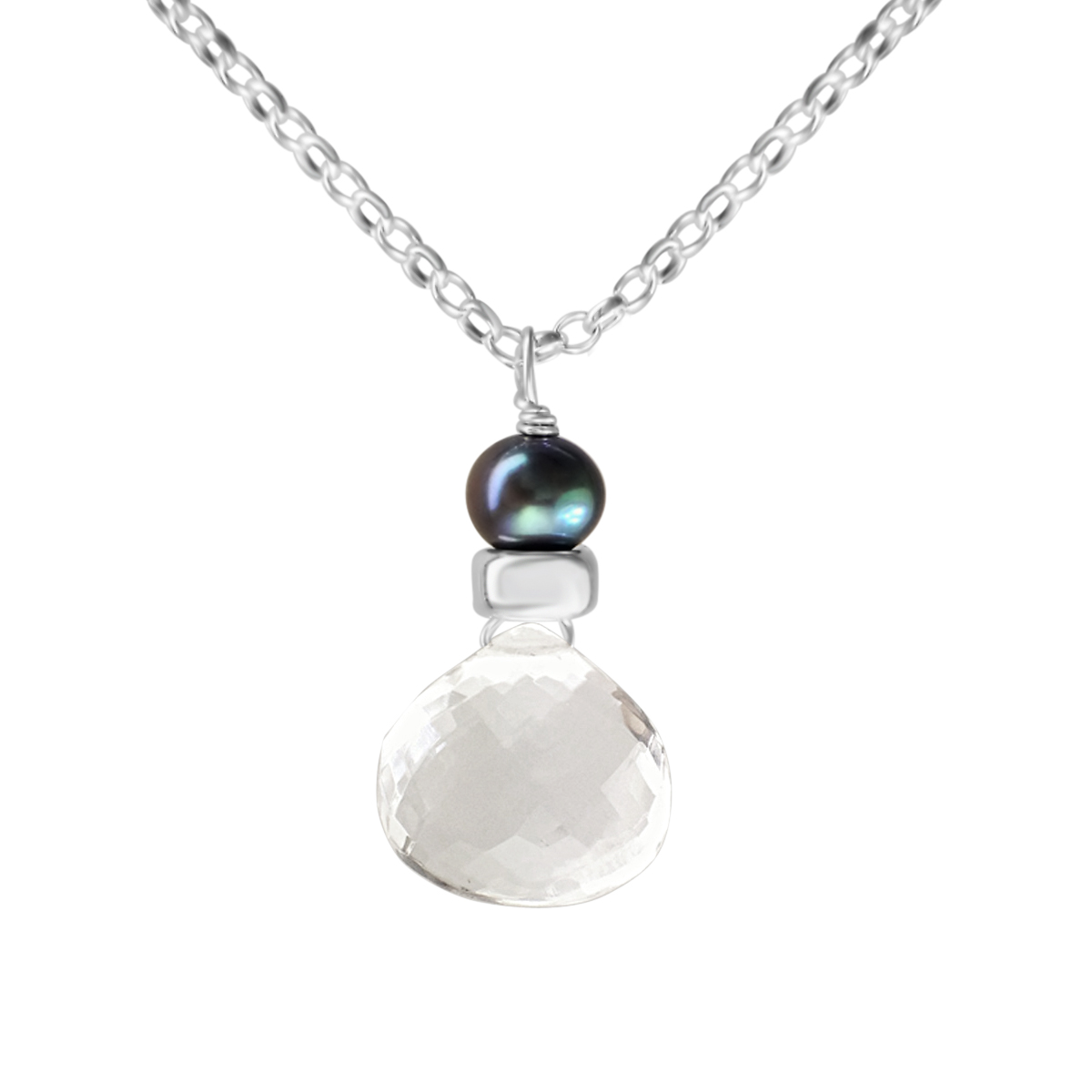 Perfume Bottle crystal quartz and blue pearl necklace