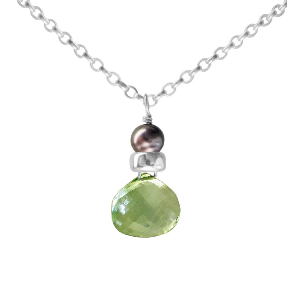 Perfume Bottle green amethyst and blue pearl necklace
