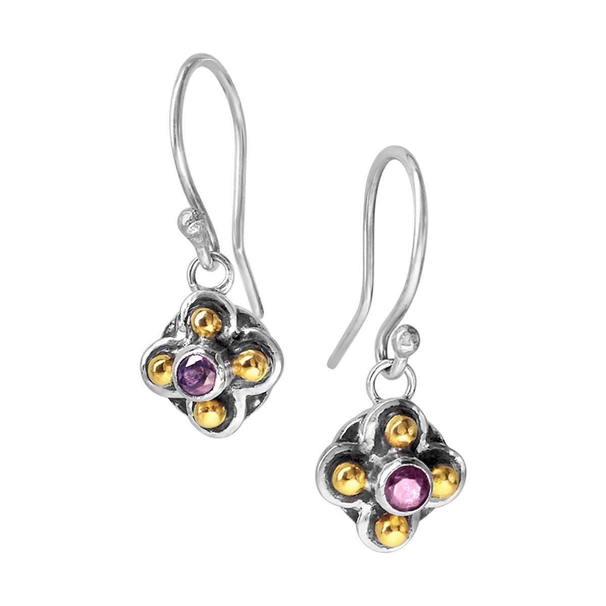 Molecule quatrefoil purple spinel earrings