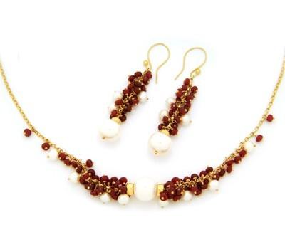 Ruby & Pearl Cluster Earrings