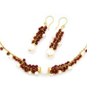 Ruby & Pearl Cluster Necklace