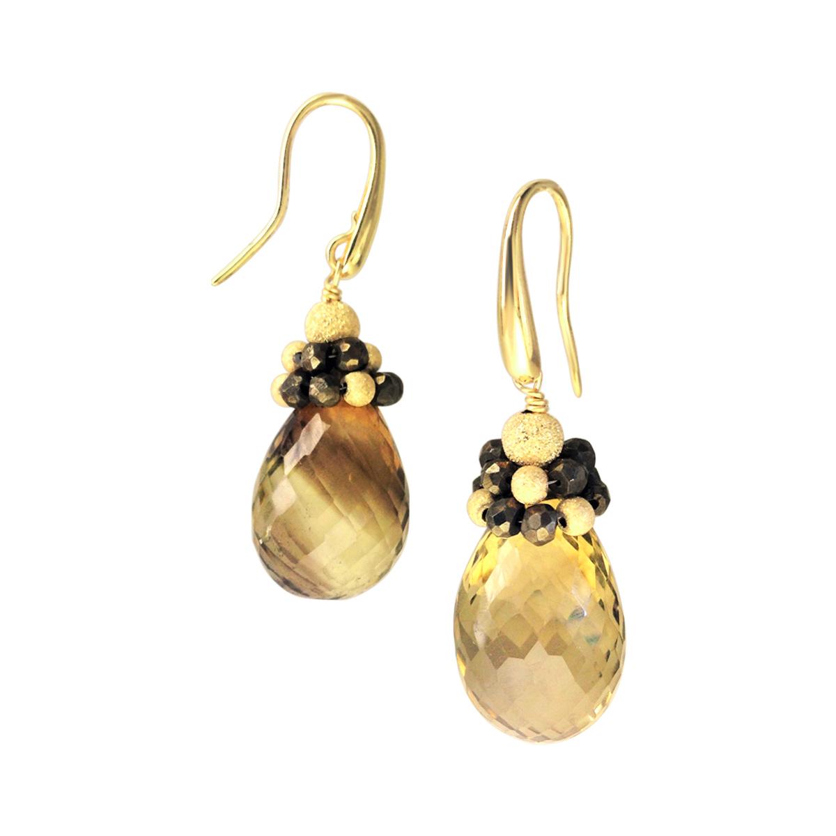 Smoky quartz 18ct gold earrings