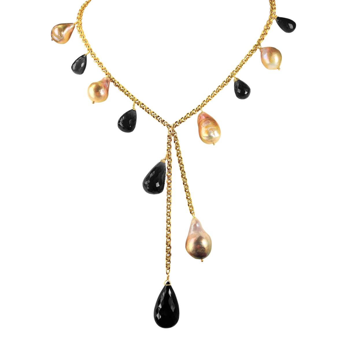 River pearl and smoky quartz Y necklace