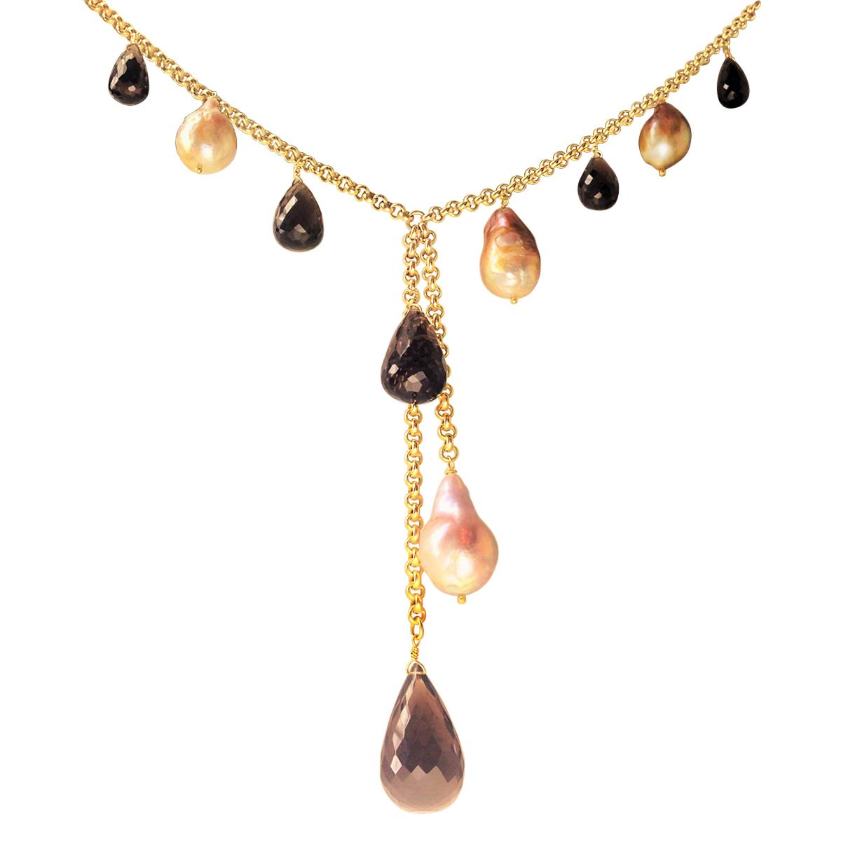 River pearl and smoky quartz Y necklace 2