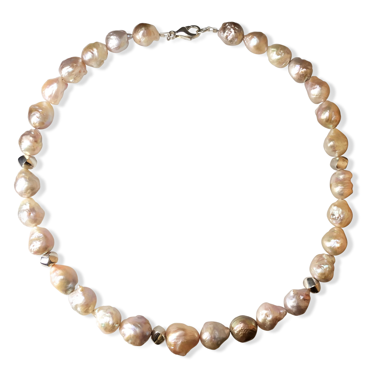 River pearl silver spiral necklace