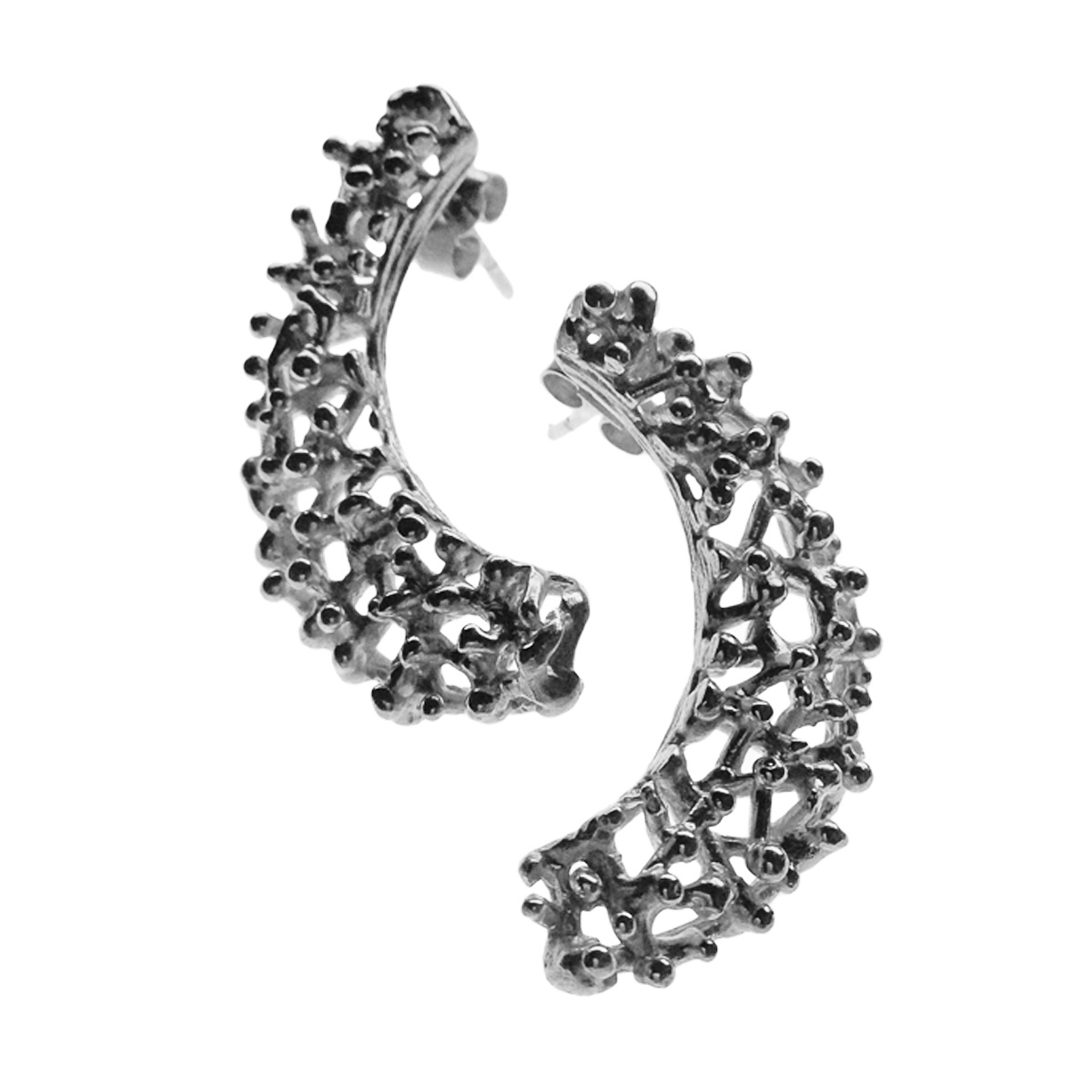 Twiggy silver crescent earrings