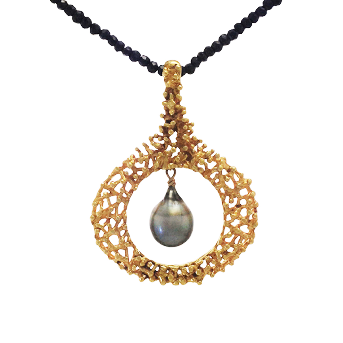Twiggy gold plated pendant with Tahitian pearl and black spinel