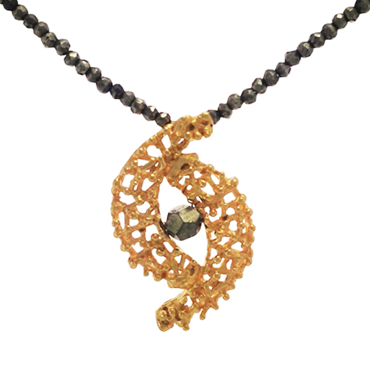 Twiggy gold plated inverse crescent pendant with pyrite